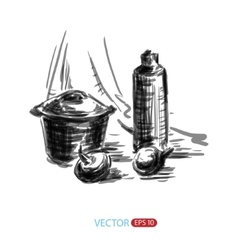 Still life sketch freehand vector