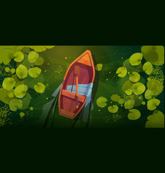 Swamp with boat and water lily leaves top view vector