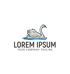 swimming swan hand drawn logo design concept vector image