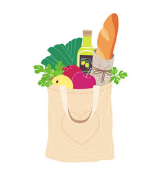 Textile eco bag with natural food vector