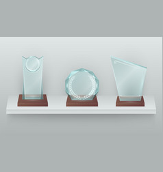 three crystal awards on shelf realistic vector image