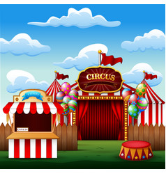 ticket booth on the entrance of a cartoon circus w vector image