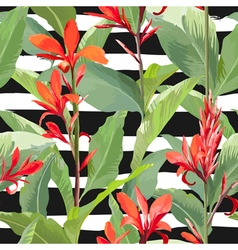 Tropical Leaves and Flowers Background Seamless vector