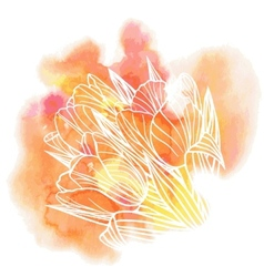 Tulip flowers on a watercolor background vector