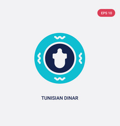 Two color tunisian dinar icon from africa concept vector