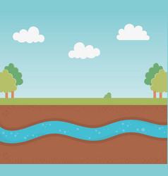 Underground water ground section landscape vector