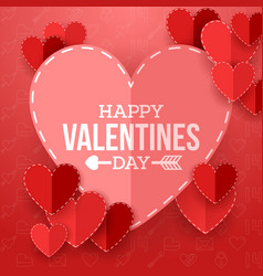 valentine day background with cut paper heart vector image