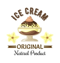Vanilla and chocolate ice cream sundae badge vector