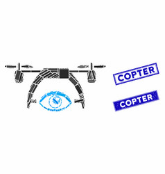 video spy drone mosaic and distress rectangle vector image