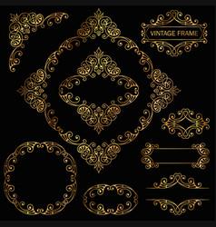 vintage decorative element gold set vector image