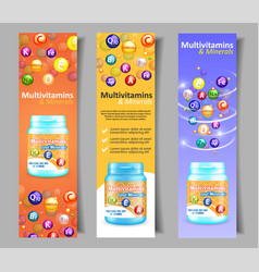 Vitamin and mineral complex banner set vector