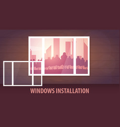 Windows installation banner view from the window vector