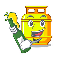 With beer gas tank cylinder isolated on mascot vector