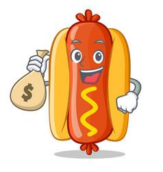 With money bag hot dog cartoon character vector