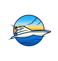 yacht on waves - vip boat round icon vector image