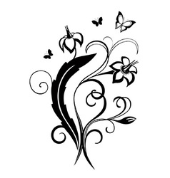 Decorative composition of curls flowers and vector