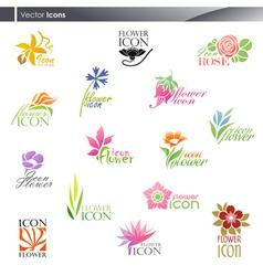 flowers - logo template set vector image