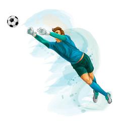 football goalkeeper jump vector image vector image