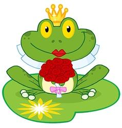 Frog Bride On A Lilypad vector image