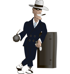gangster with a bomb vector image