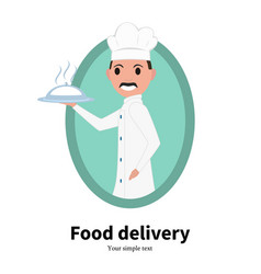 icon cartoon portrait male chef cook vector image