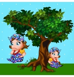 Little girl next to the tree cartoon character vector image vector image