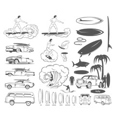 Set Elements of Surfing and Extreme Sports vector image vector image