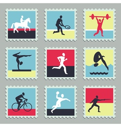 Set of stamps with sport icons vector image