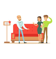 store seller selling red sofa to couple smiling vector image vector image