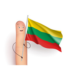 Finger with lithuania waving flag vector