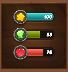 Game Resources Icons with Progress Bars vector image