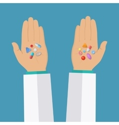 Hands with pills vector image vector image