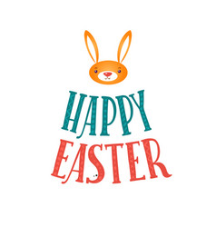 happy easter greeting card lettering and bunny vector image vector image