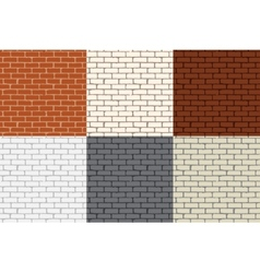 Set of 6 colored brick wall Seamless vector image