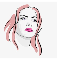 Young beautiful woman portrait sketch vector image