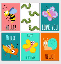 hello happy birthday love you cards with insects vector image vector image