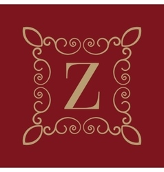 Monogram letter Z Calligraphic ornament Gold vector image vector image