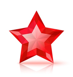 Red crystal star vector image vector image