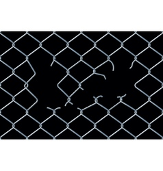 Seamless damaged chain-link fence vector image