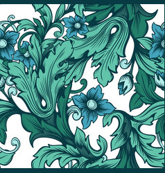 blue-green floral seamless pattern with flowers vector image