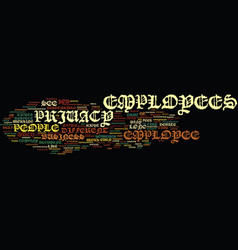 Employee privacy text background word cloud vector