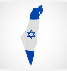 hanging israel flag in form of map state of vector image vector image