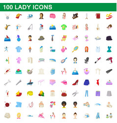 100 lady icons set cartoon style vector