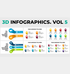 3d perspective infographics pack vol 5 vector image