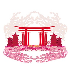 Abstract card with Asian buildings and cherry vector