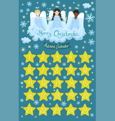 Advent calendar with angels on cloud vector