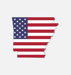 Arkansas map on american flag vector