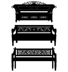 Asian antique chair bench furniture in silhouette vector