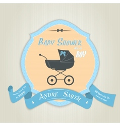 Baby shower invitation with flat baby carriage vector