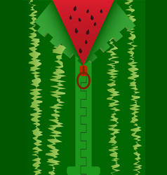 Background with zipper mimic watermelon cutting vector